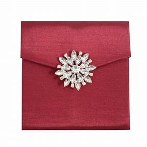 wine red faux silk envelope with star brooch and pockets With silk envelope wedding invitations