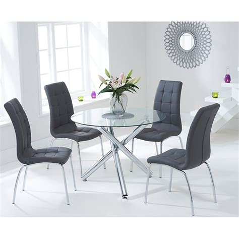 harris odessa 100cm glass table with 4 grey