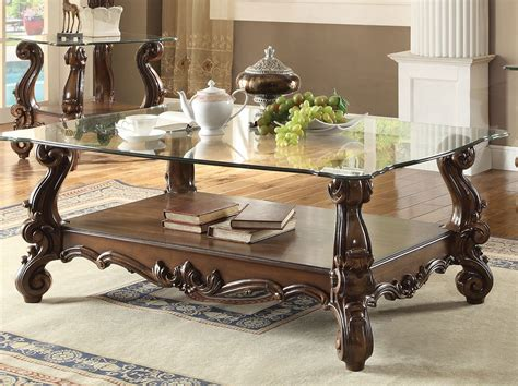 Versailles Glass Top Coffee Table Cherry Oak Finish