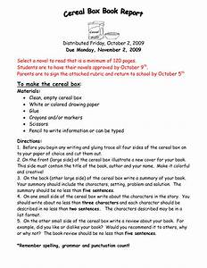 Instructions For Cereal Box Book Report