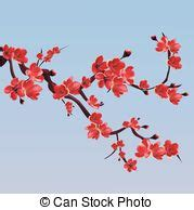 This is the vector illustration of a flowered sakura