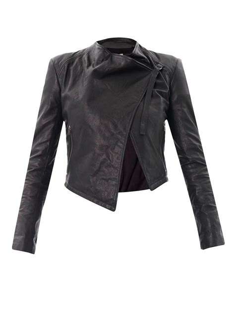 lyst helmut waterfall front leather jacket  black