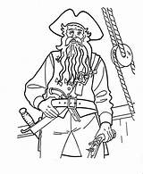 Blackbeard Coloring Caribbean Pages Pirates Captain Drawing Drawings Printable Sketches Getcolorings sketch template