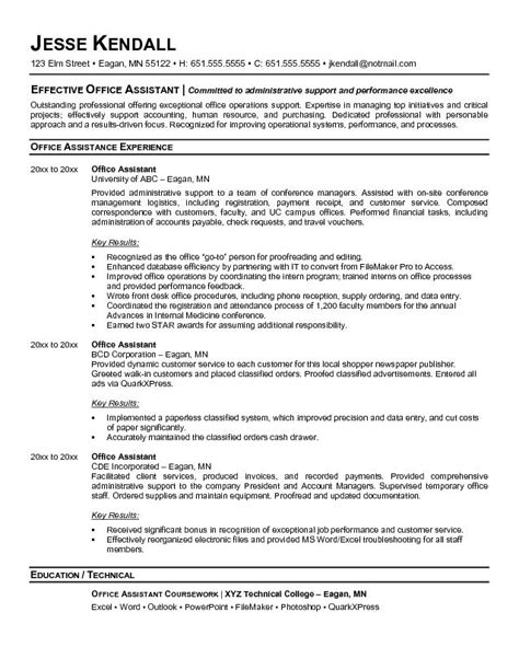Resume Objective Exles For Office Assistant by Exle Office Assistant Resume Free Sle