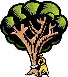 Cutting down a tree Royalty Free Vector Clip Art ...