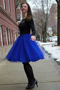Cobalt Blue Tulle Skirt with Black Long Sleeve Tee #DIY | Wear to Work  The Blogger Collective ...