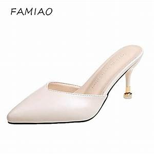 Famiao 2018 Genuine Leather Womens Slippers Heels Woman