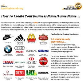 how to create your business fame name and tagline how to build a brand
