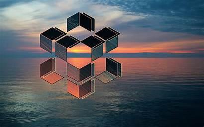 Geometric Sunset Wallpapers Lake 4k Desktop Backgrounds