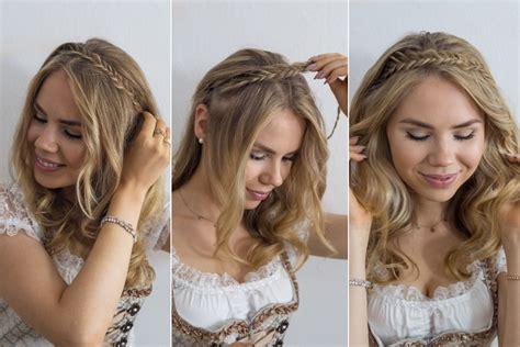 dirndl frisuren mit haarband dirndl frisur haarband mit frischgr 228 tenzopf therubinrose