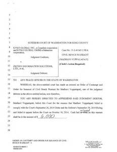 Bench Warrant Washington State bench warrant issued by chief civil judge of king county