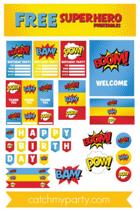 awesome  superhero party printables
