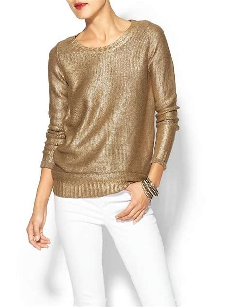 Metallic Gold Pullover Sweaters And Style On Pinterest