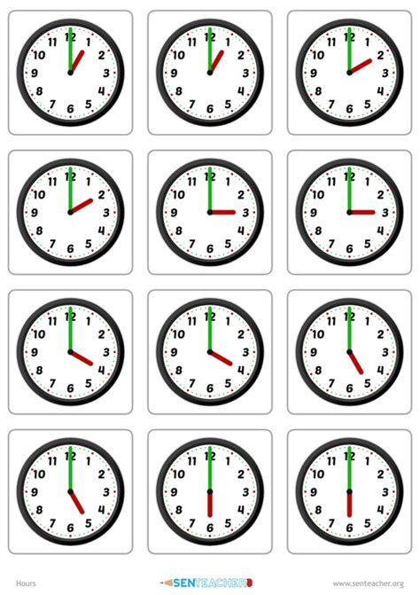sen teacher clocks card pairs printable worksheet