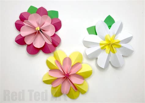 easy  paper flowers  spring red ted art
