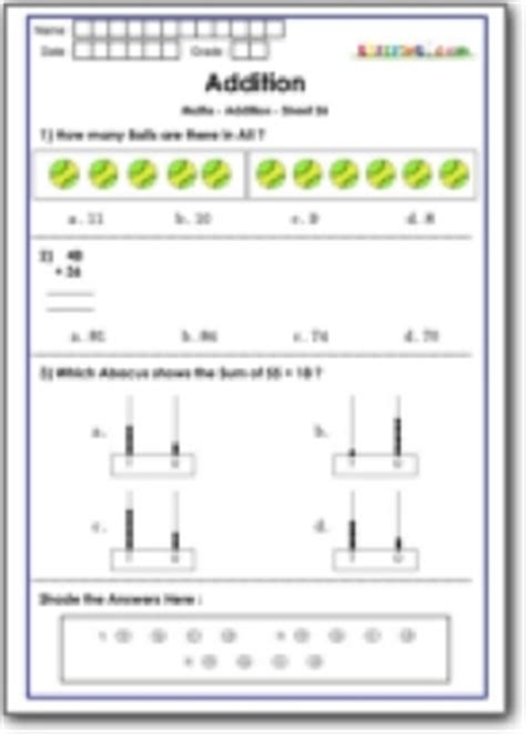 addition practice questions for math olympiad class 1