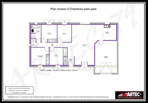 plan maison 4 chambres gratuit plan de maison plein pied gratuit 4 chambres