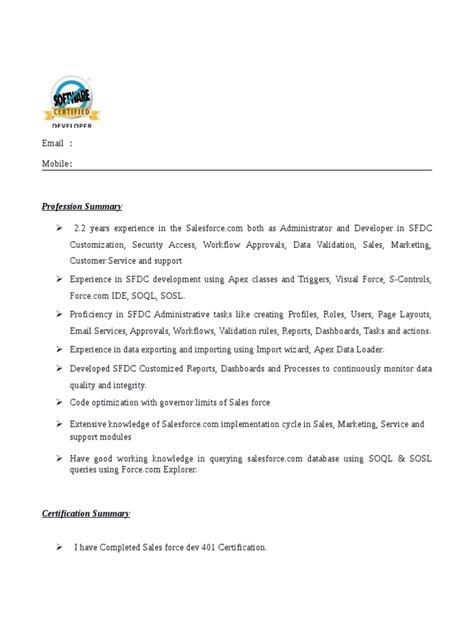 salesforce developer resume sles resume ideas