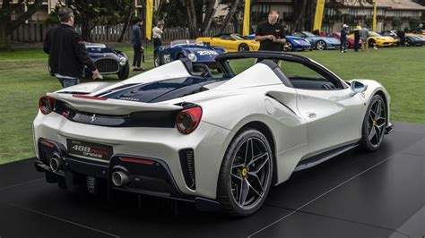 The ferrari 488 pista spider, unveiled to the world during the 2018 edition of the pebble beach concours d'elegance®, is the 50th open car model the ferrari 488 pista spider is equipped with the most powerful turbocharged engine ever mounted on a road car. Ferrari reveals 488 Pista Spider at Pebble Beach Concours d'Elegance - Autoblog