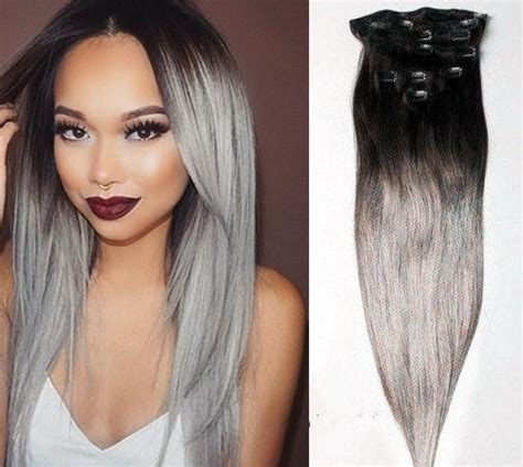 extensiones  cortina de cabello gris plata  humano