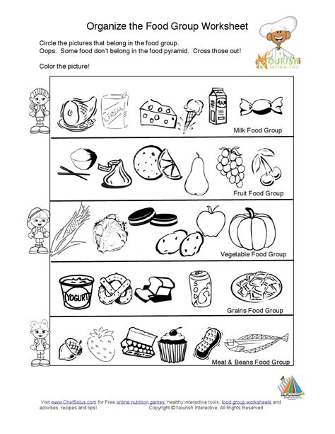 food pyramid food groups learning nutrition worksheet