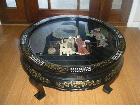 vtg antique chinese black lacquer  coffee table japan