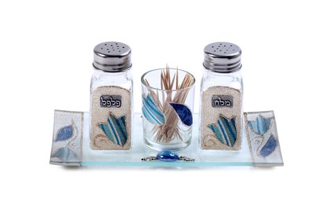 Glass Salt And Pepper Shaker Set With Blue Striped Flowers