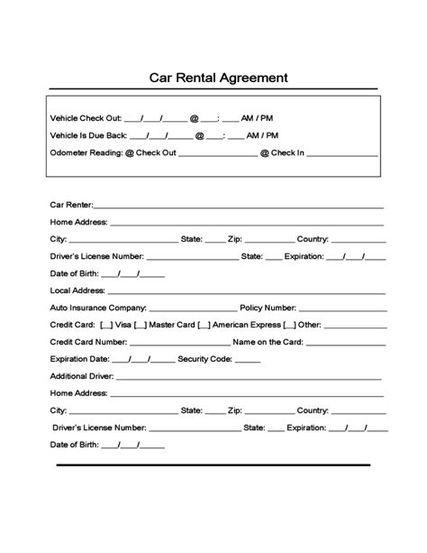 sample form  car rental  lease