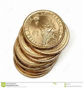 Stack Of American One Dollar Coins Stock Image - Image of ...