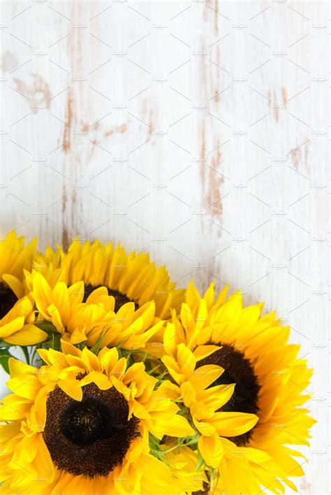 yellow sunflower bouquet nature  creative market