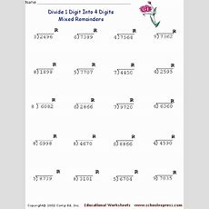 Divide 1 Digit Into 4 Digits Mixed Remainders #2 Worksheet For 3rd  4th Grade  Lesson Planet