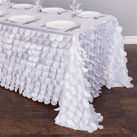 90 x 156 in. Rectangular Petal Tablecloth White