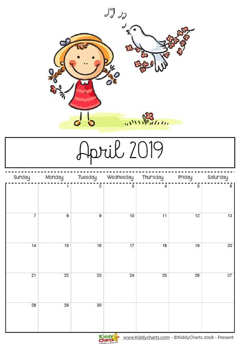 April printable 2019 calendar sheet dove singing to a