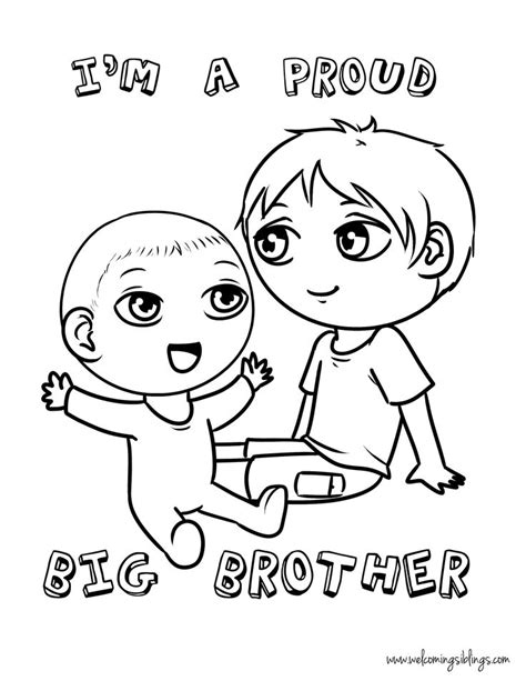big brother coloring page welcoming siblings