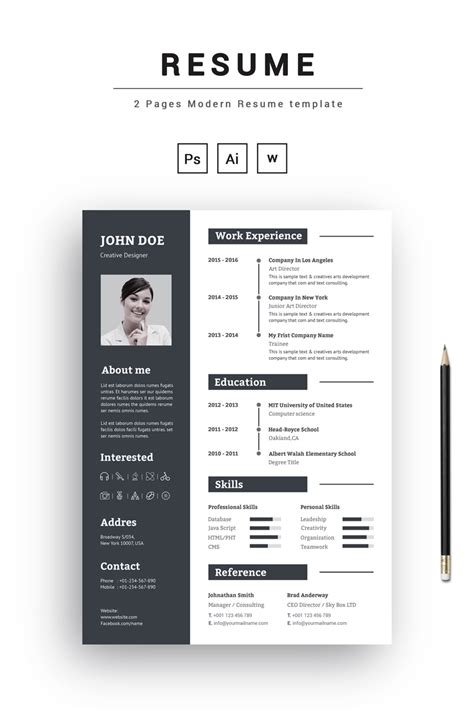 pages modern resume template