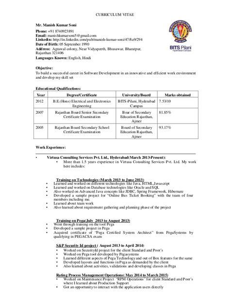 Company Resume by Manish Resume For Company