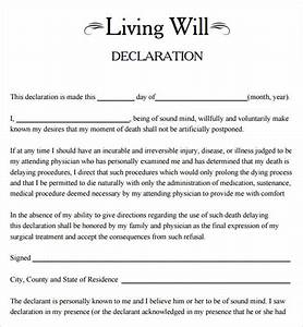 9 sample living wills sample templates for Free will templates online