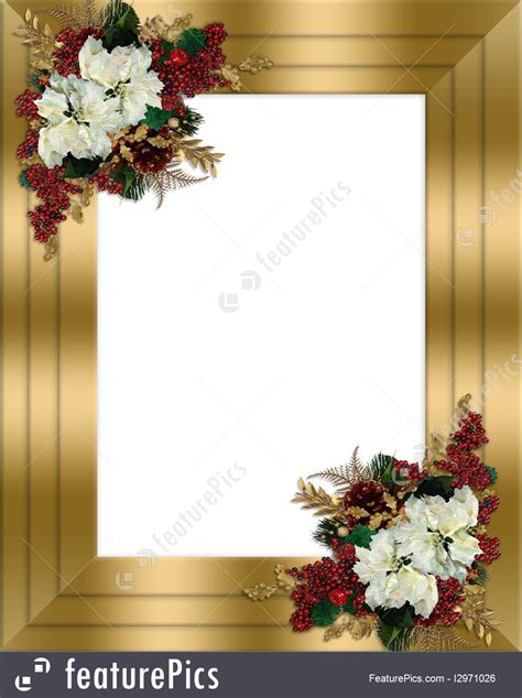 templates christmas border gold floral stock