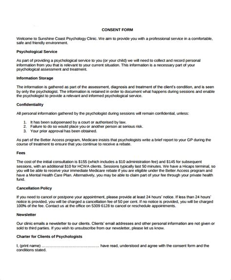sample psychology consent form   documents