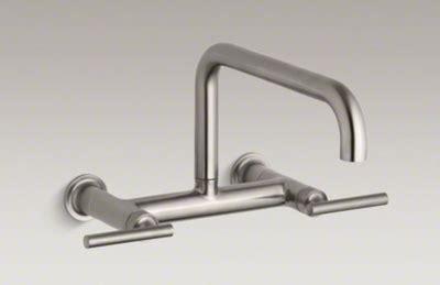 wall mount sink faucet kitchen kohler k 7549 4 vs purist two wall mount bridge 8876