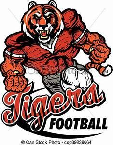 Clip Art Vector of tigers football - muscular tiger ...