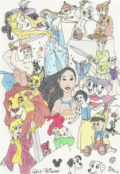 disney montage drawing by evilfuzzle2 on deviantart