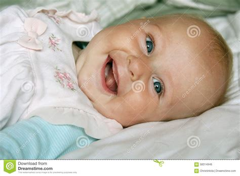 Super Happy 4 Month Old Baby Girl Smiling Stock Photo