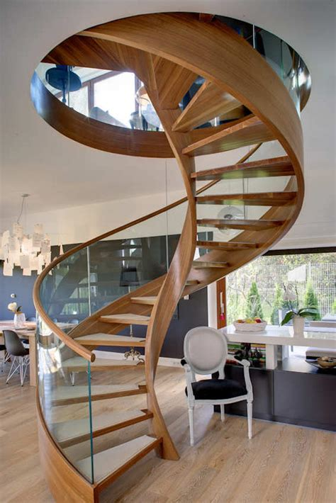contemporary spiral staircase  wood  glass