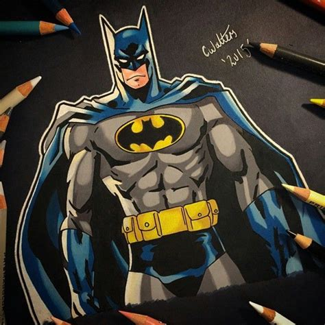 in color dc batman colored pencil drawing by coreymayne
