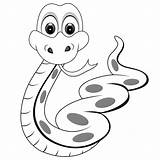 Snakes Coloring Pages Printable Snake Cartoon Simple Filminspector sketch template