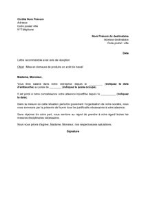 modele lettre avertissement absence non justifiée modele de lettre pour absence non justifi 233 e contrat de