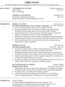 student resume for internship application sle investment banking resume