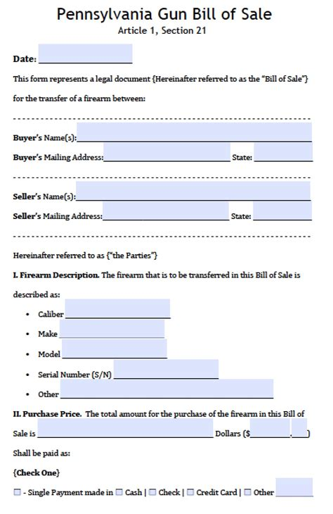 pennsylvania firearm bill  sale form  word