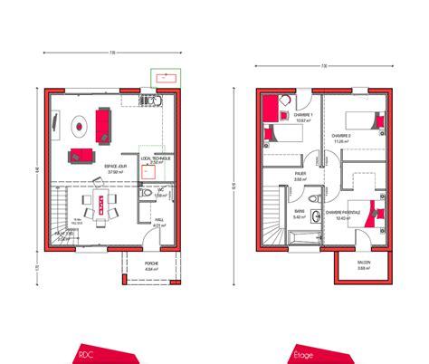 plan maison a etage 3 chambres plan maison etage 90m2